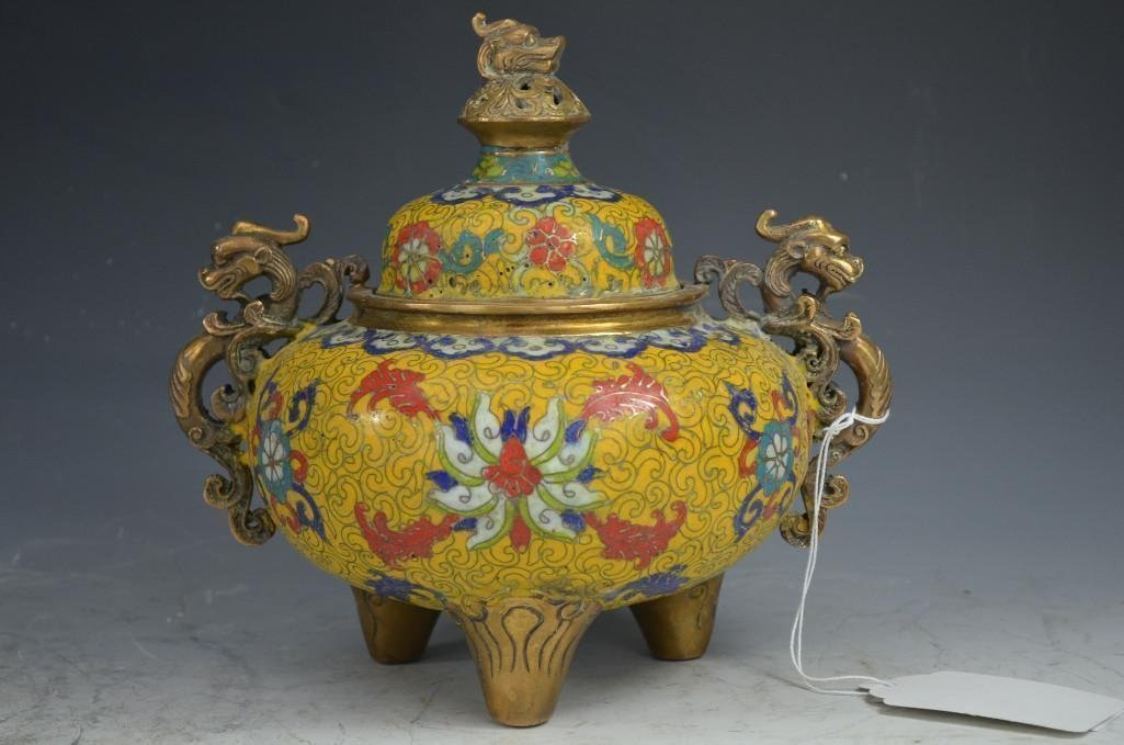 Chinese Bronze Qianlong Marks Cloisonne Imperial Yellow