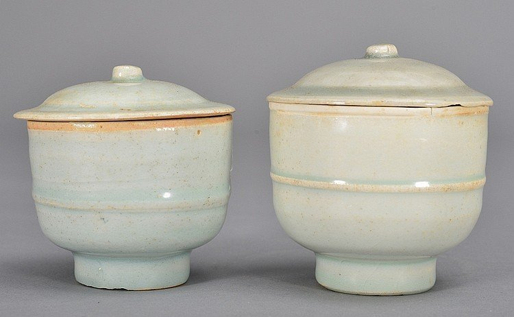 TWO RARE QINGBAI-GLAZED BOWL AND COVERS SONG DYNASTY
