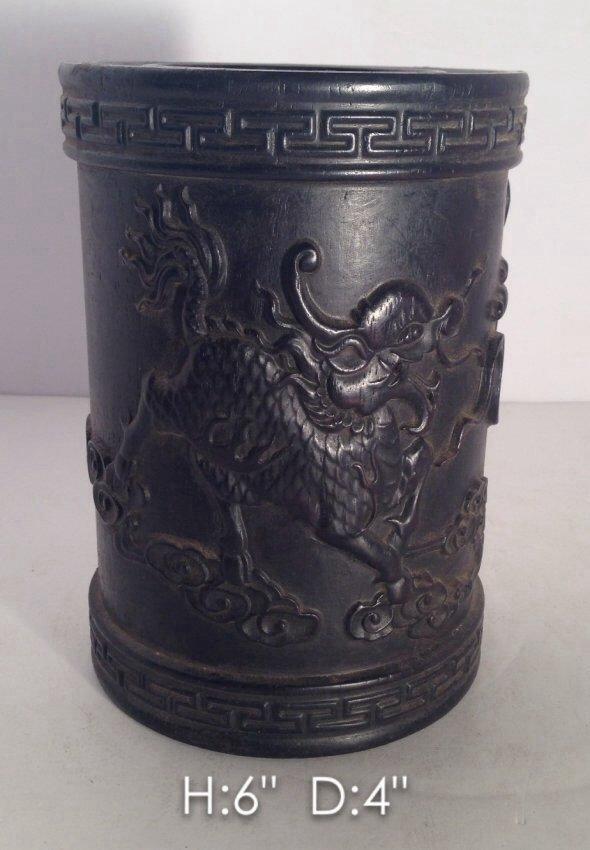 Antique Fine Qing Dynasty Carved Zitan Wood Brush Pot