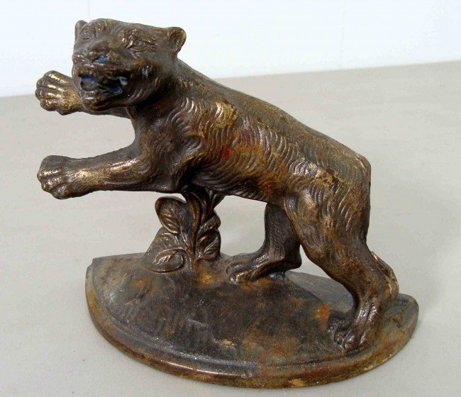 Antique early 1920's Chinese Bronze Tiger Door Stopper