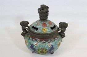 Qing Dynasty Chinese Bronze Cloisonne Censer Kangxi Mrk
