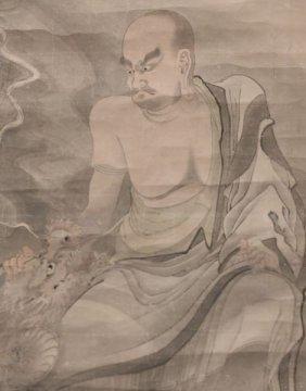Rare Chinese Qing Dynasty Painting Lohan/ Dragon 18th