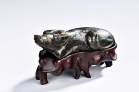 Chinese Jade Carving Of A Water Buffalo Qing Dynasty