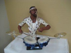 Stunning Jazzi drummer sculpture Steel Brass Very Cool!