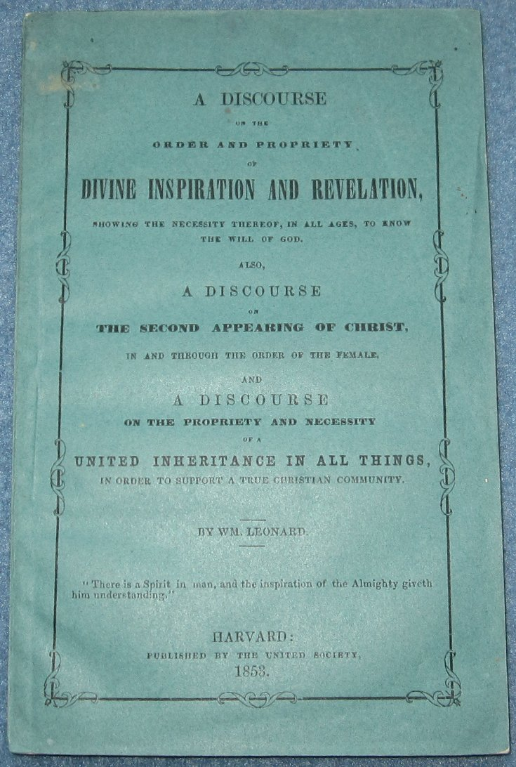 """1853 Harvard Shakers """"A Discourse"""" by William Leonard"""