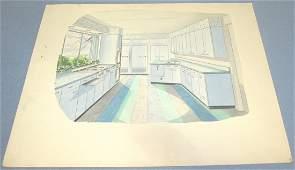 Designers Watercolor Rendering of MidCentury Kitchen