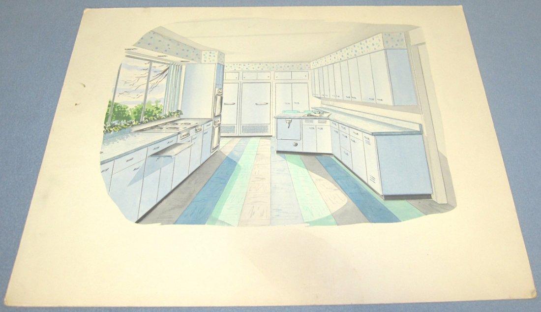 Designer's Watercolor Rendering of Mid-Century Kitchen