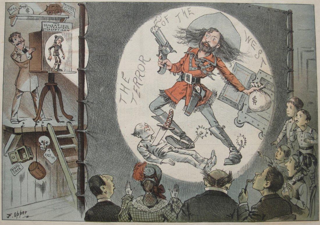 1882 Color Lithograph Print of Magic Lantern Show