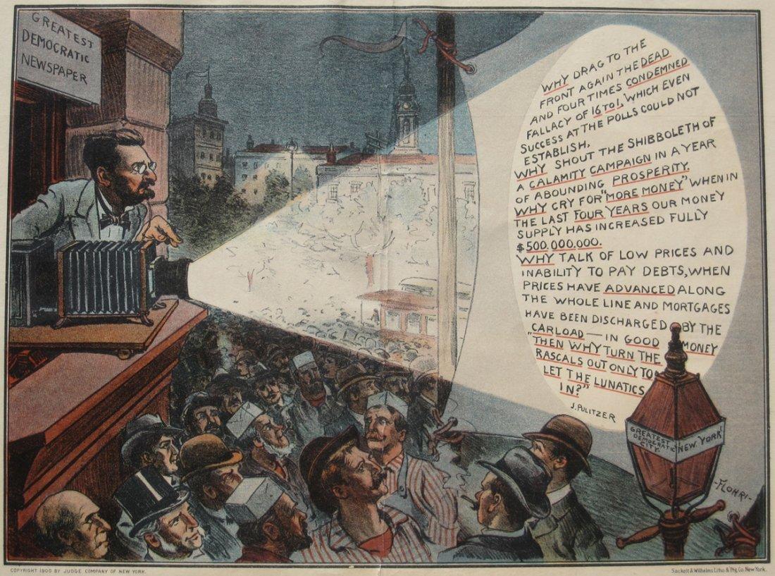 1909 Color Print of Joseph Pulitzer/Magic Lantern Show