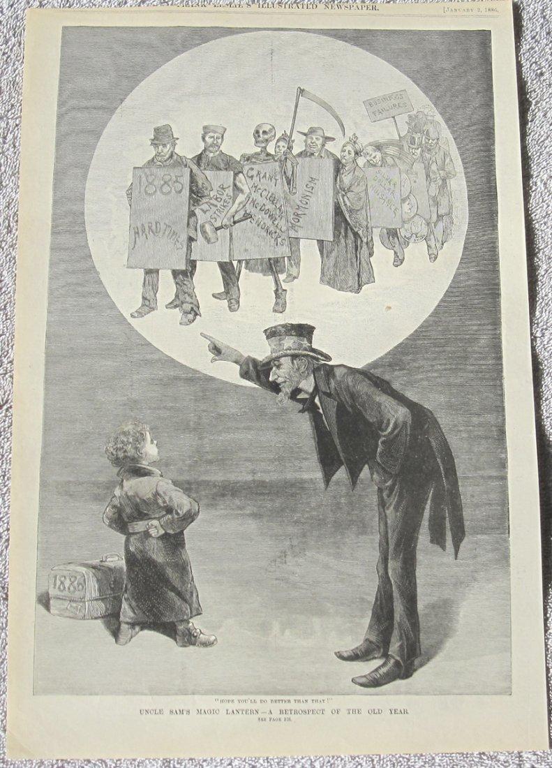 1886 Engraved Print Magic Lantern Reflections