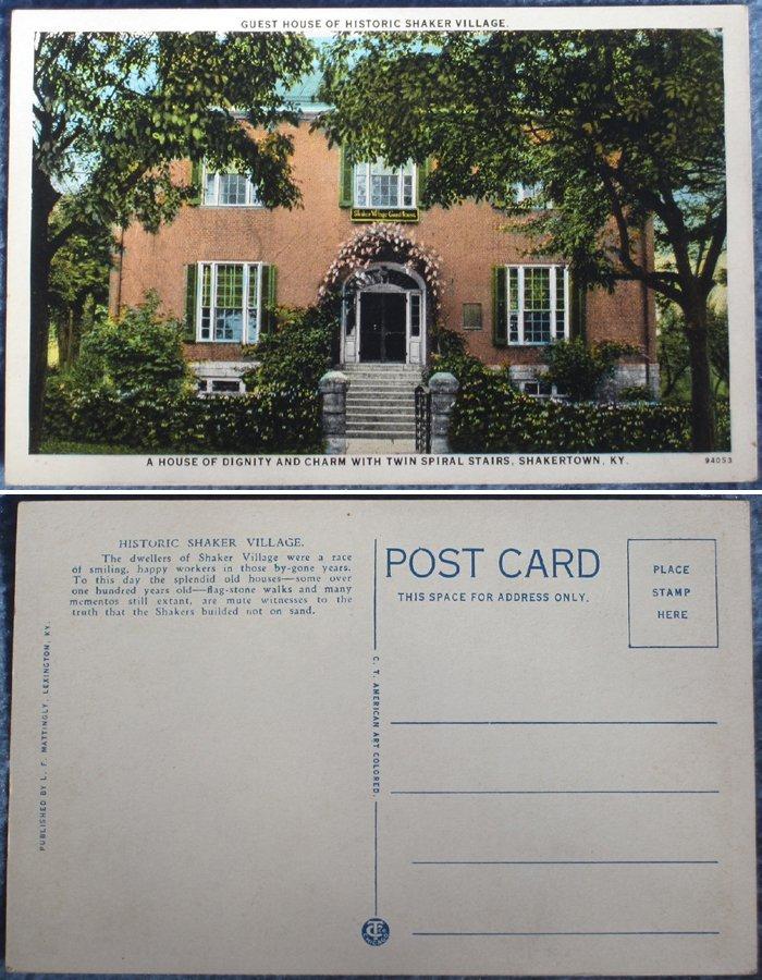 4 Shaker Vintage Color Postcards - Shakertown, KY
