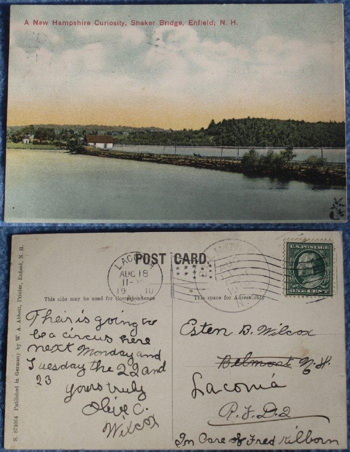 4 Vintage Postcards: Old Shaker Bridge, Enfield, NH