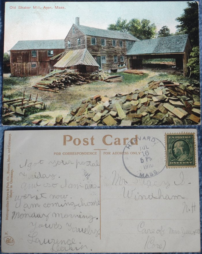 Two 100+-Year-Old Shaker Postcards – Ayer, MA