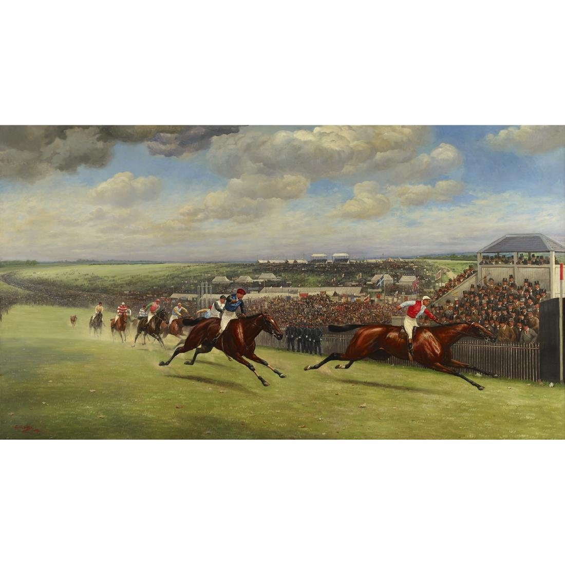 THE FINISH OF THE DERBY, 1893 by Major G.D. Giles
