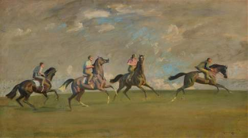 A MORNING'S WORK, NEWMARKET HEATH by Munnings