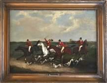 Set four fox hunting paintings Attributed to John Leech