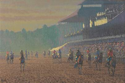 Peter Howell - Horses on the Track, Saratoga Morning