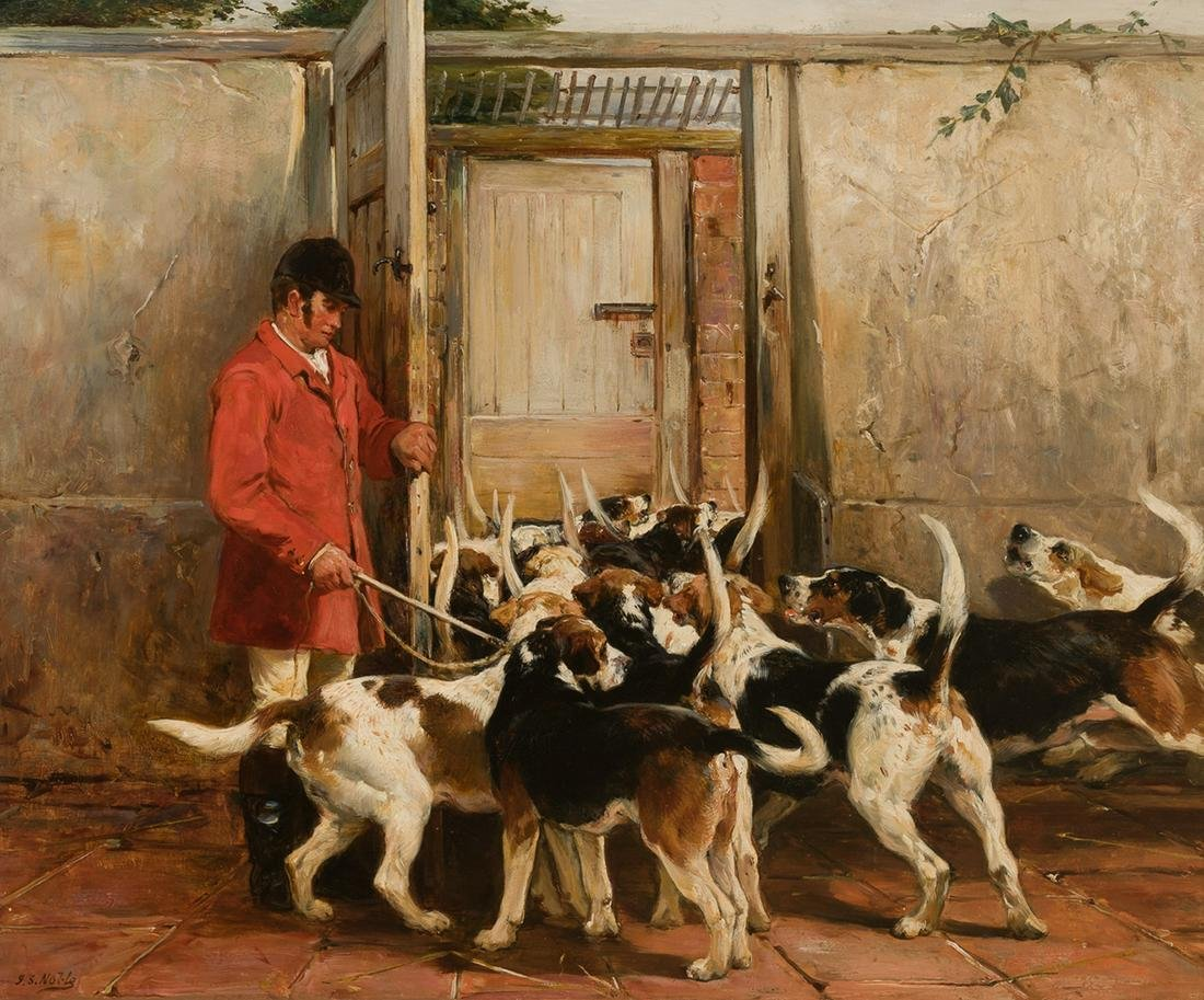 John Sargent Noble - Foxhounds in a Kennel