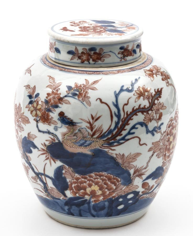 A blue and white iron-red jar and cover