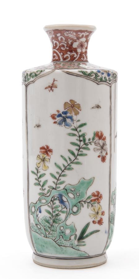A small famille-verte rouleau vase