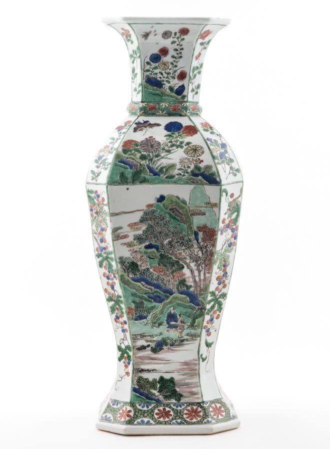A superb Chinese famille verte octagonal vase