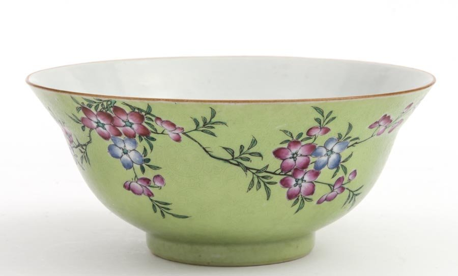 A Green-ground Famille-Rose 'Floral' Bowl