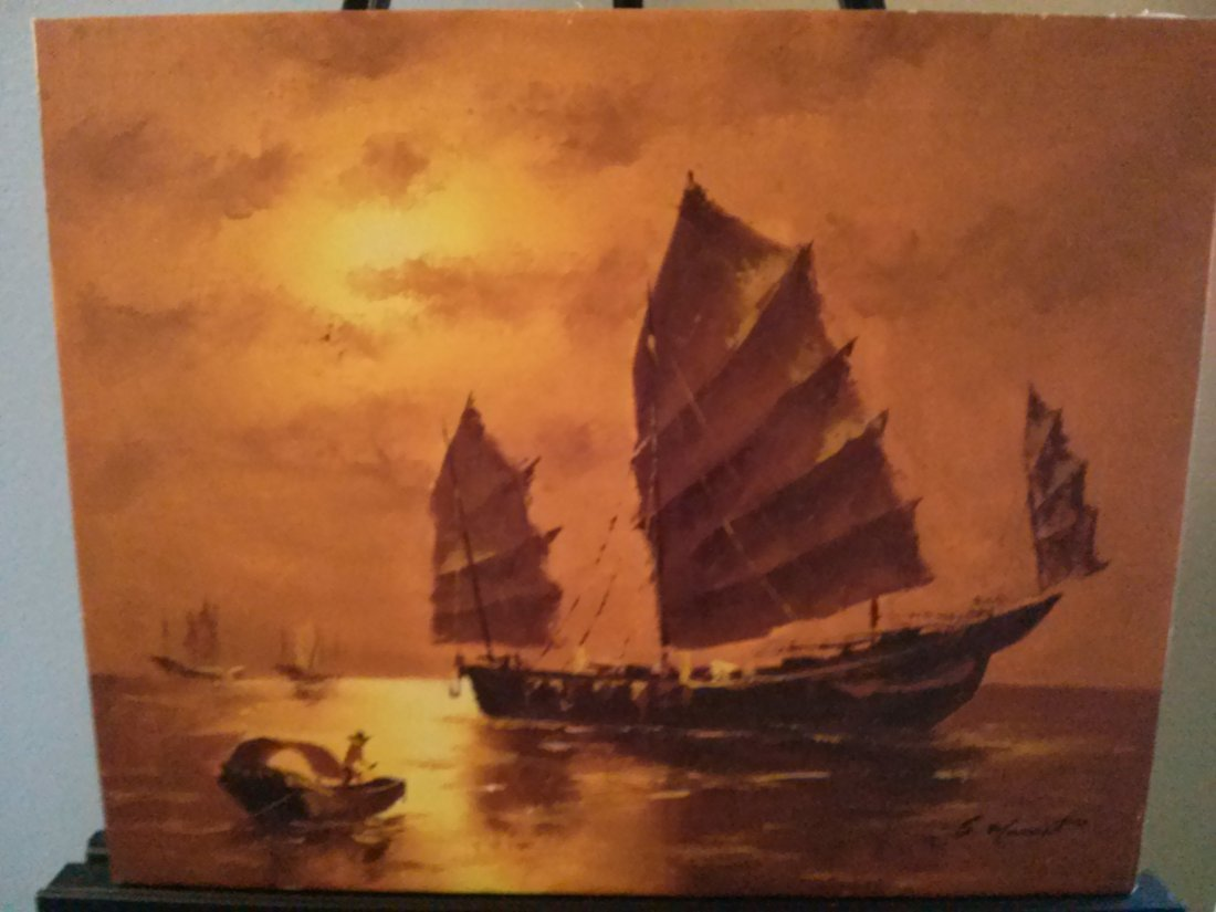 Original Signed Oil Painting on Canvas, Japanese Ships