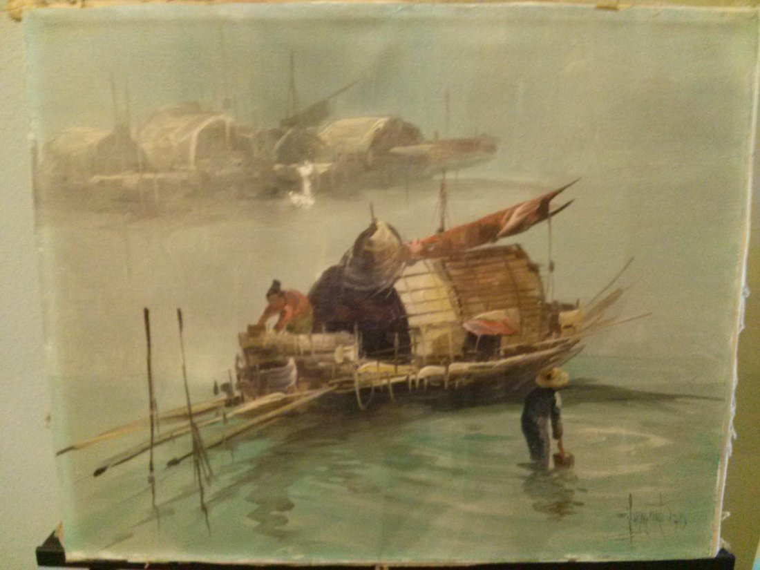 Vintage Signed Asian Junk Ship Oil Painting On Canvas