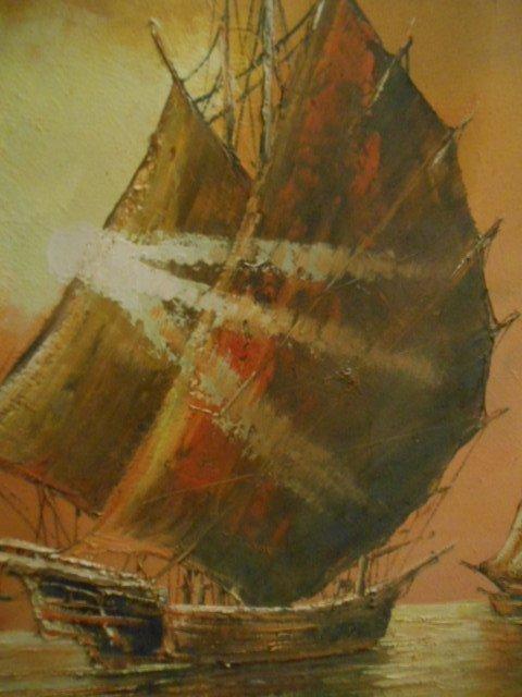 Asian Style Junk Schooner Painting Nautical Ship