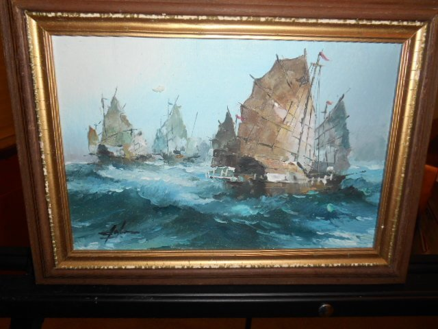 Signed Junk Ship Painting