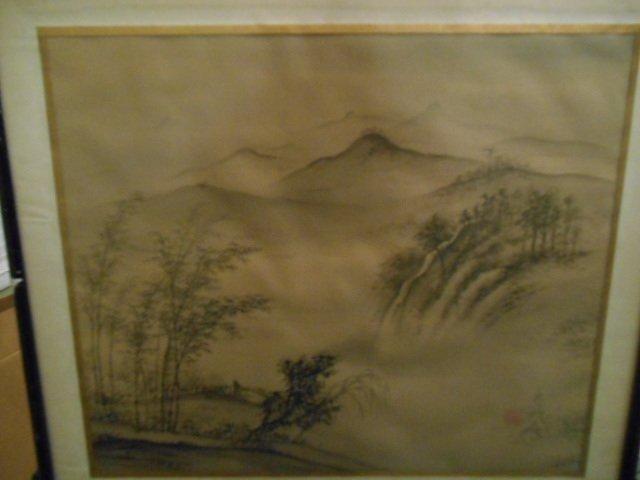 Original Watercolor  Japanese mountain vista, on silk