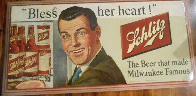 """Vintage Jos. Schlitz Beer Metal Sign """"Bless Her Heart"""""""