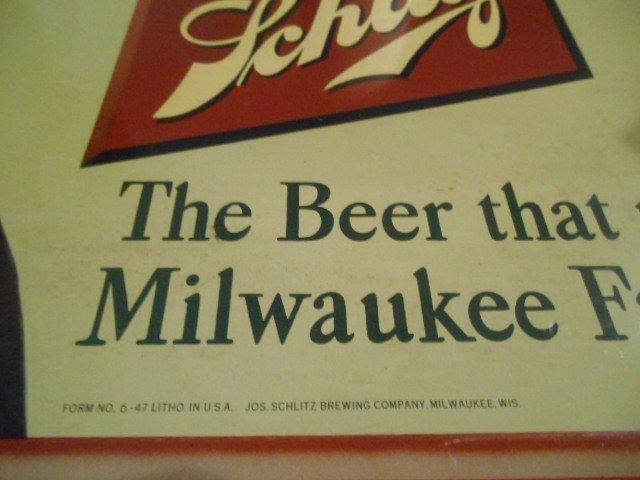 """Vintage Jos. Schlitz Beer Metal Sign """"Bless Her Heart"""" - 3"""