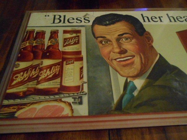 """Vintage Jos. Schlitz Beer Metal Sign """"Bless Her Heart"""" - 4"""