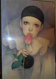 Vintage Mira Fujita:Sad Pierrot,signed and chop stamped