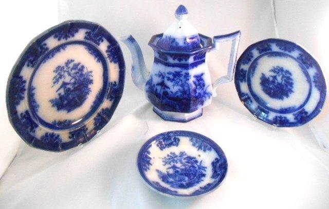 """ANTIQUE DAVENPORT FLOW BLUE Circa 1850's """"Amoy"""" Lot"""