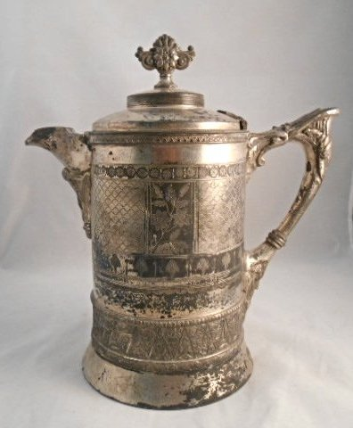 1886 Meriden B Co Silver plate Pitcher, Porcelain lined