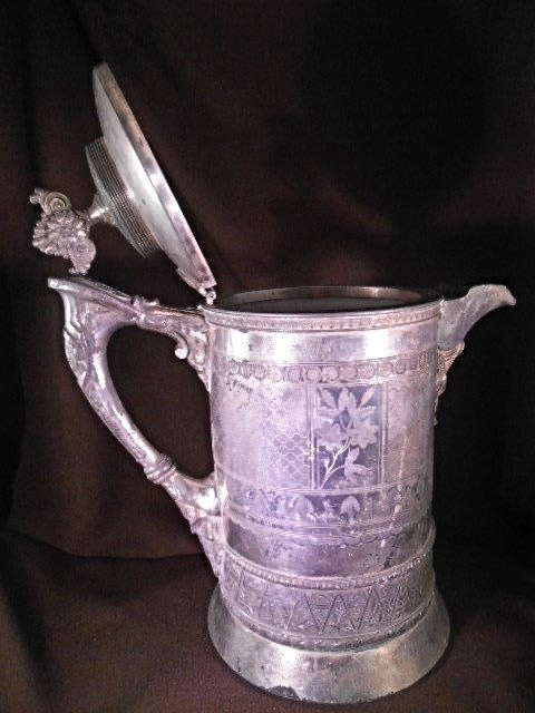 1886 Meriden B Co Silver plate Pitcher, Porcelain lined - 3