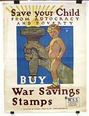 """Original WWI Poster, """"Save Your Child from Autocracy"""