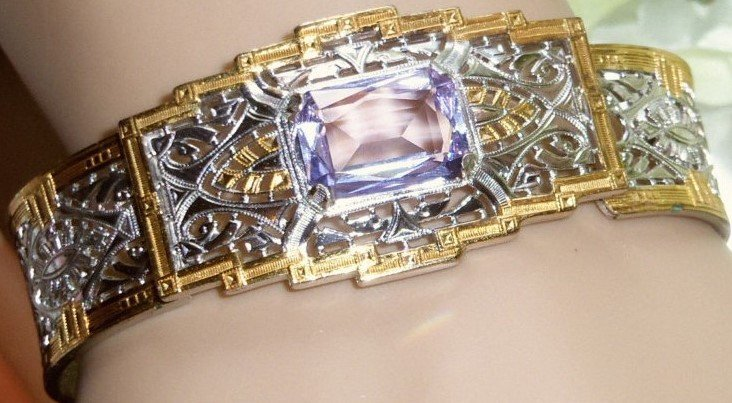 Lavender Stone 14k Gold and 925 Two Tone Bracelet