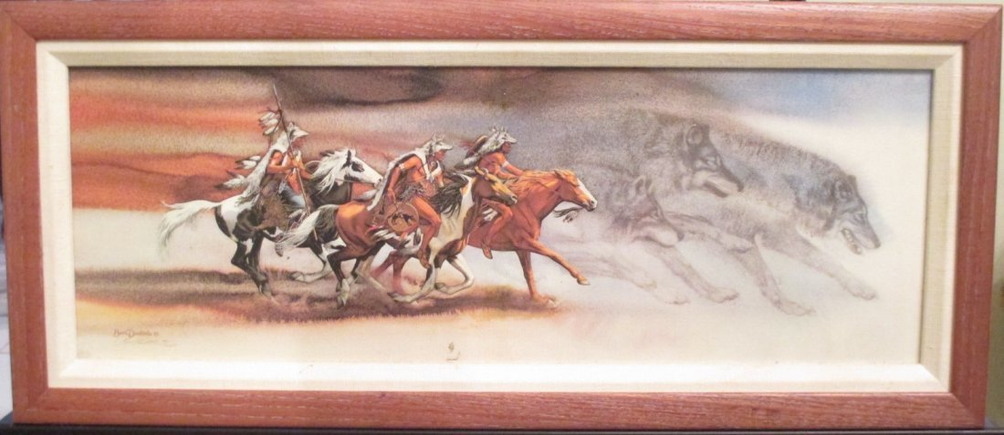 """Bev Doolittle 44/2650 """"Wolves of the Crow"""" Serigraph"""