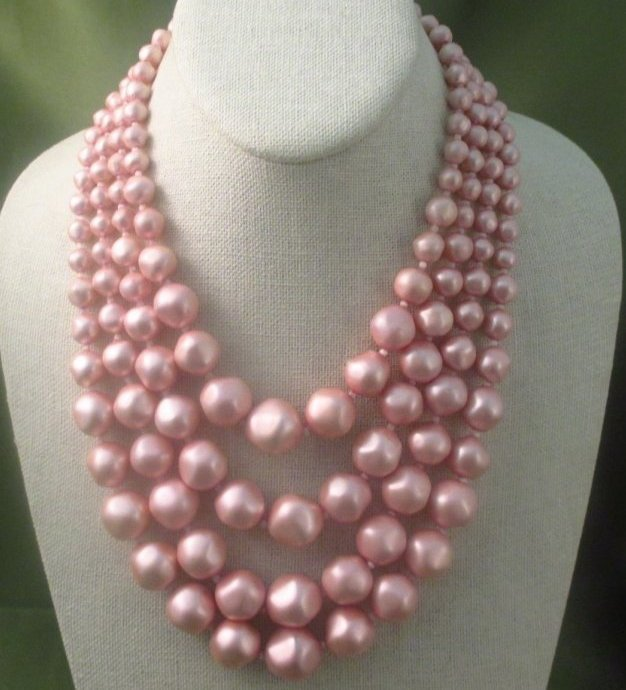 Schiaparelli Pink Faux Pearl Necklace