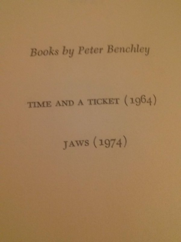Peter Benchley JAWS A Novel 1st Edition 1st Print - 3