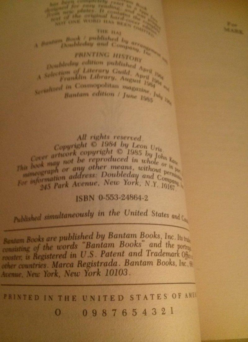 Leon Uris THE HAJ 1st Edition - 2