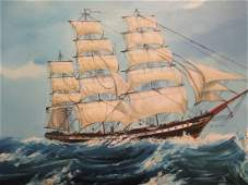 Ship at Sea Oil Painting on Board Singed by LONG