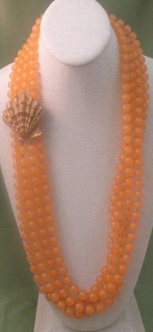 BILL SMITH FOR RICHELIEU Orange Beaded/w shell necklace