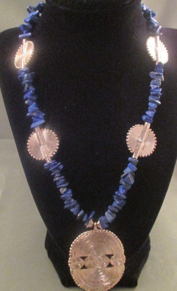 Mary McFadden Blue Nugget Goldtone Necklace