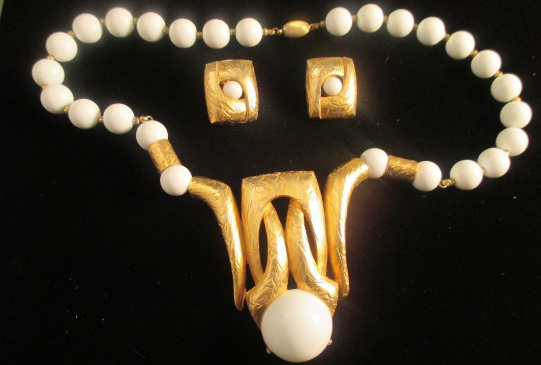 Lucien Piccard Gold Tone Necklace & Earring set