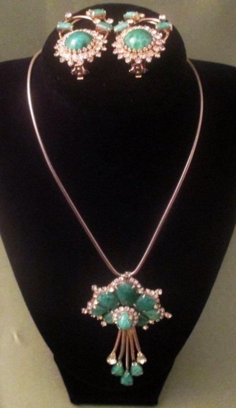 Hobe Green & Rhinestone Jewelry Set ~ 66.2g