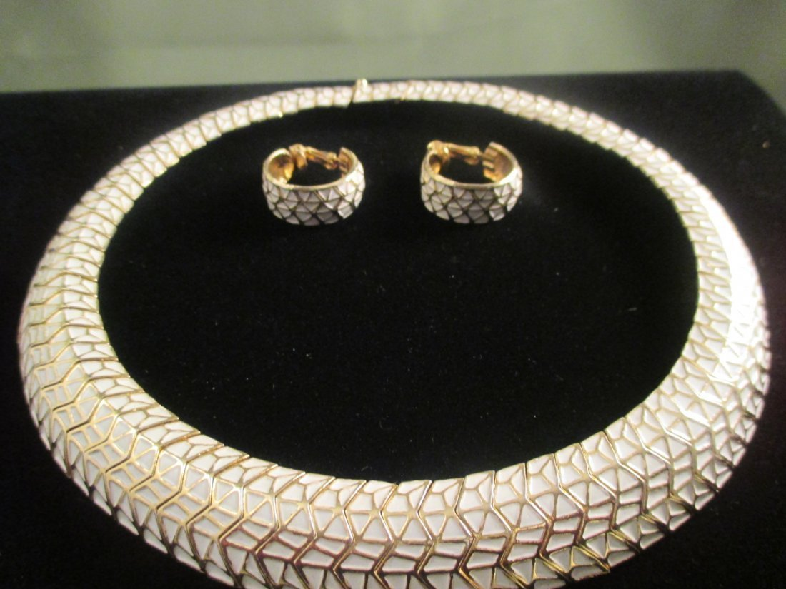 Boucher Enamel and Gold Tone Choker & Earring Set